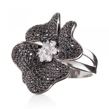 Ingenious sterling silver black flower ring with black cubic zirconia stones