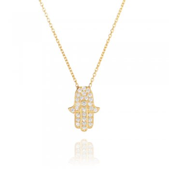 gold necklace with pave hamsa