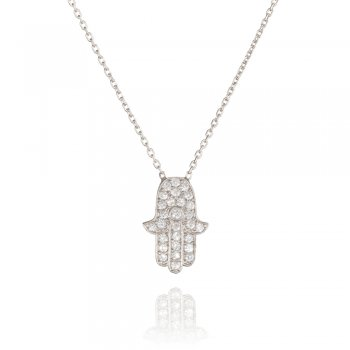 Ingenious silver necklace with pave hamsa