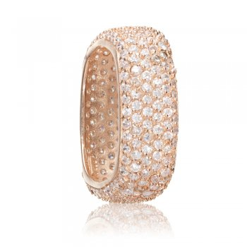 Ingenious rose gold plated square pave stacking ring
