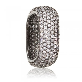 Ingenious black rhodium plated square pave stacking ring
