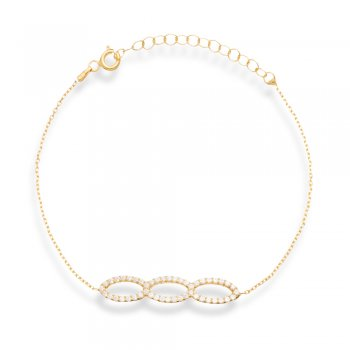 Ingenious gold bracelet with three open pave ovals