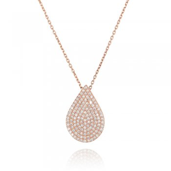 Ingenious rose gold necklace with pave pear