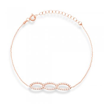 Ingenious rose gold  bracelet with three open pave ovals
