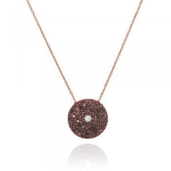 Ingenious rose gold necklace with brown pave disc