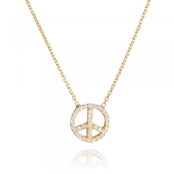 Ingenious gold peace sign necklace