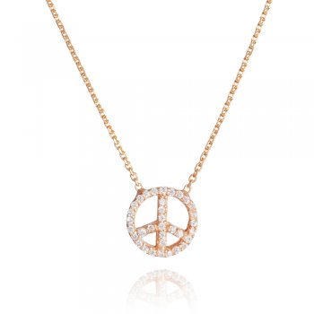 Ingenious rose gold  peace sign necklace