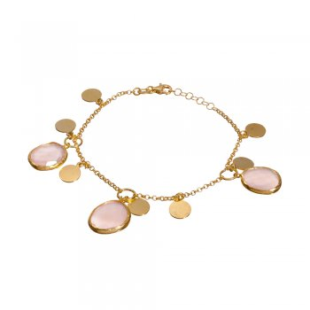 Ingenious gold plated bracelet with hanging coins and pink stones