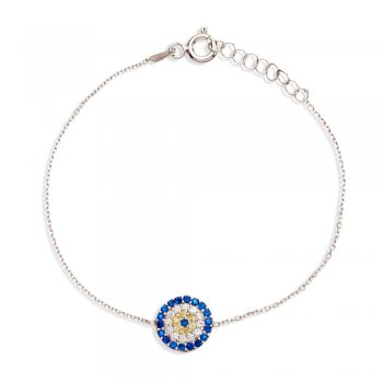 Ingenious silver bracelet with round evil eye