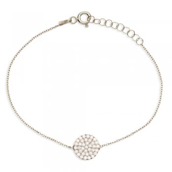 Ingenious silver bracelet with pave circle
