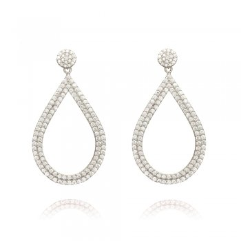 Ingenious silver earrings with open pave pear