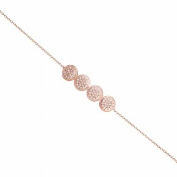 Ingenious rose gold plated bracelet with four cubic zirconia circles