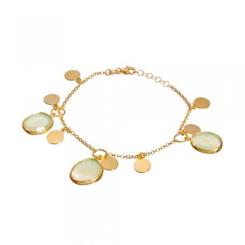Ingenious gold bracelet with coins and opal pacific stones