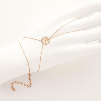 Ingenious gold hand jewellery with round circle of love