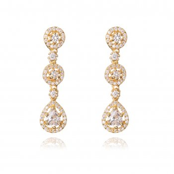 Ingenious gold three drop pave earring