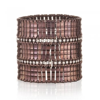 Ingenious chocolate stretch cuff with two rows of cubic zirconia