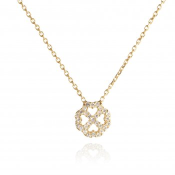 Ingenious gold necklace with mini octagon flower