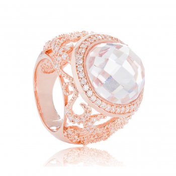 Ingenious rose gold ring with pave scroll work and oval crystal