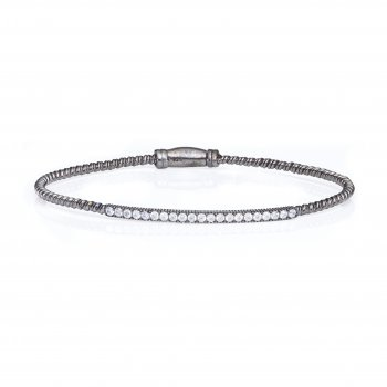 Ingenious black bangle with pave line