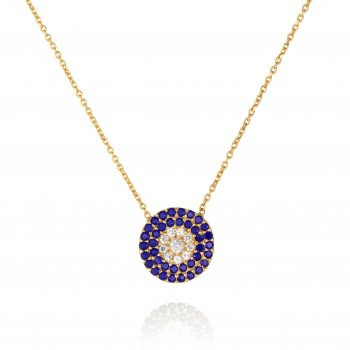 pave disk necklace with blue crystals