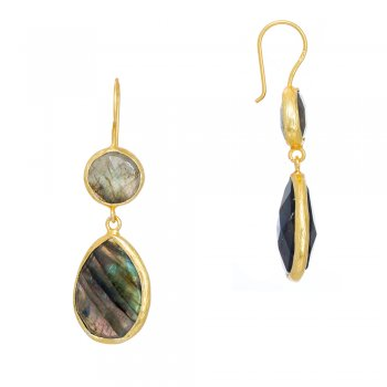 Ingenious gold earrings with two drop labradorite stones