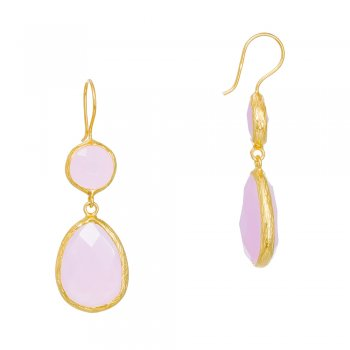 Ingenious gold earrings with two drop pink quartz stones