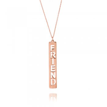Ingenious rose gold necklace with friend tag