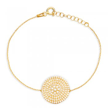 gold bracelet with large pave circle