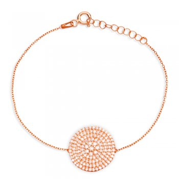 Ingenious rose bracelet with large pave disc