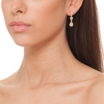 rose gold three drop pave earring
