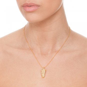 Ingenious gold necklace with leaf necklace on ball chain