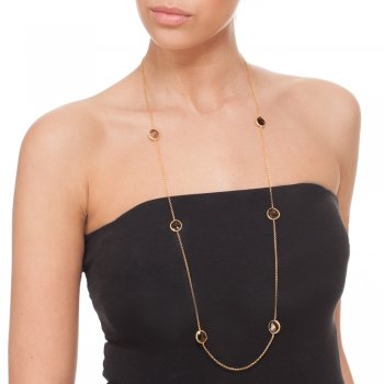 Ingenious gold necklace with smokey quartz stones