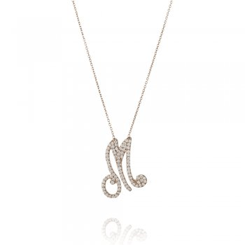 silver pave letter M necklace