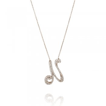 Ingenious silver necklace with  pave letter N