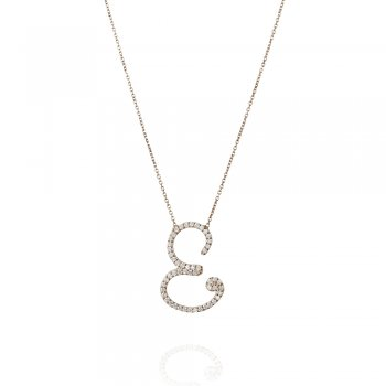 silver necklace with pave letter E