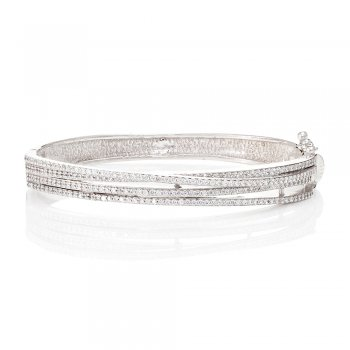 Ingenious silver bangle with multi pave lines