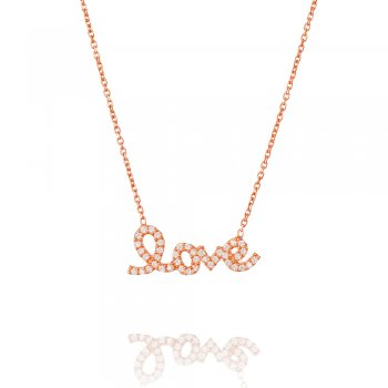 rose gold necklace with pave love