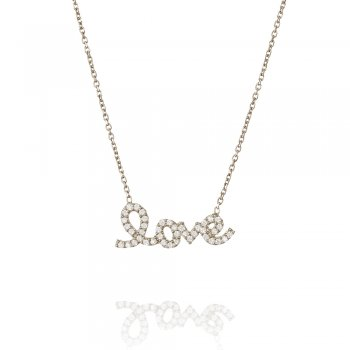 Ingenious silver necklace with pave love