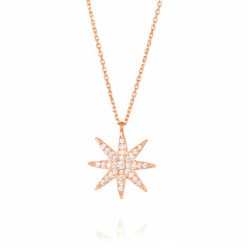 Ingenious rose gold pave star necklace
