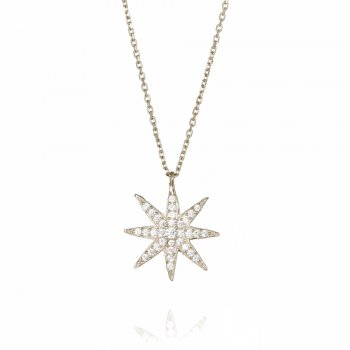 silver pave star necklace