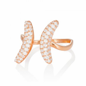 Ingenious rose gold adjustable ring with pave crescents