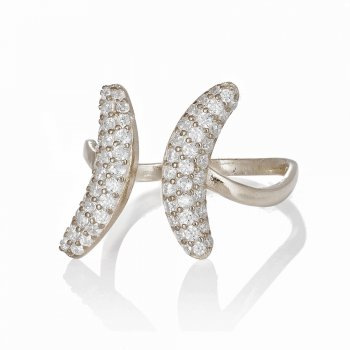 Ingenious silver adjustable ring with side pave crescents