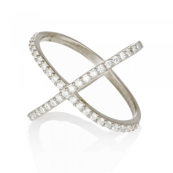 Ingenious silver ring with pave cross