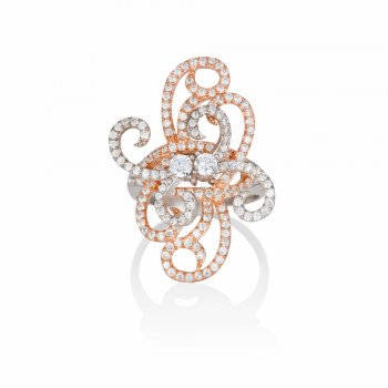 Ingenious silver and rose gold ring with pave swirls