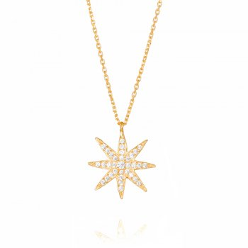 gold pave star necklace