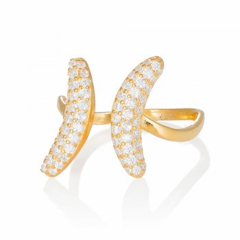 Ingenious gold adjustable ring with pave crescents