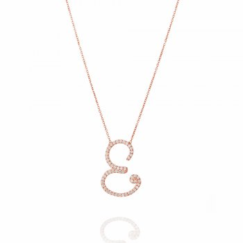 Ingenious rose gold necklace with pave letter E