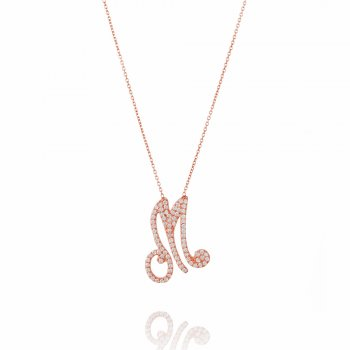 rose gold necklace with pave letter M