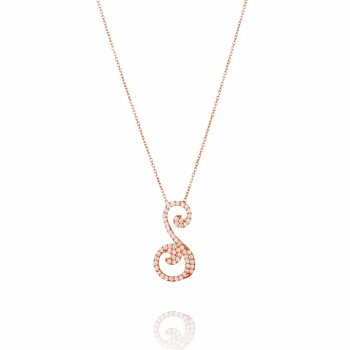 Ingenious rose gold necklace with pave letter S