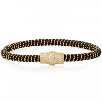 Ingenious black leather bracelet with gold pave magnetic clasp
